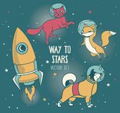 Cute doodle animal-astronauts and retro style rocket floating in space Royalty Free Stock Photo