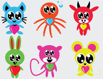 Cute doodle animals. Vector image of a set of funny colorful animals Stock Image