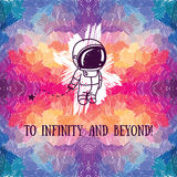 Cute doodle astronaut on abstract artistic background. Vector illustration Royalty Free Stock Photo