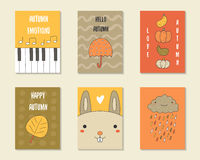 Cute doodle autumn cards Stock Images