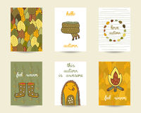 Cute doodle autumn cards. Brochures, invitations with scarf, camp fire, hedgehog, rubber boots, leaves frame. Cartoon objects, animals background. Printable Stock Photography