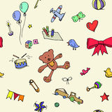 Cute doodle baby seamless pattern Stock Photography