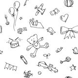 Cute doodle baby seamless pattern Royalty Free Stock Photography
