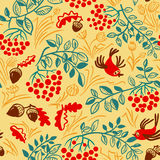 Cute doodle background with autumn colorful leaves, birds, rowa. Fall season vector seamless pattern. Cute doodle background with autumn colorful leaves, birds stock illustration