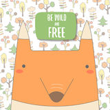Cute doodle background, brochure, cover with orange fox Stock Photos