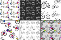 Cute doodle bicycle set Stock Image