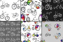Cute doodle bicycle set Royalty Free Stock Photos