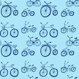 Cute doodle bicycles on white background. Royalty Free Stock Photos