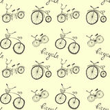 Cute doodle bicycles on white background. Royalty Free Stock Photography