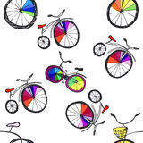Cute doodle bicycles Stock Images