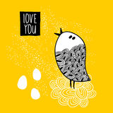 Cute doodle bird print. Royalty Free Stock Photography