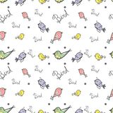 Cute doodle of bird seamless pattern vector background Royalty Free Stock Photos