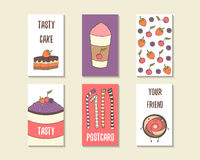 Cute doodle birthday, party, baby shower cards. Brochures, invitations with cookie, cake, smoothie, dessert, straw, berry cherry Cartoon objects characters stock photography