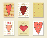 Cute doodle birthday, party, wedding, valentine cards Stock Photography