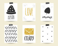 Cute doodle black and gold birthday, baby shower cards Royalty Free Stock Images