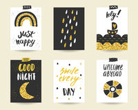 Cute doodle black and gold birthday cards set Stock Photo