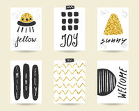 Cute doodle black and gold birthday, party cards Stock Images