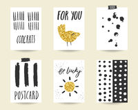 Cute doodle black and gold party, baby shower cards Stock Images