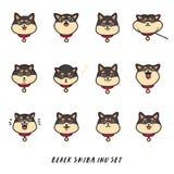 Cute black shiba inu`s head emotions. Stickers vector set. Stock Illustration
