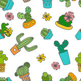 Cute doodle cactus and flowers in a pots. Vector seamless pattern. Cute doodle cactus and flowers in a pots royalty free illustration