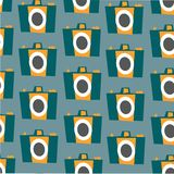 Photo camera vector colorful flat seamless pattern stock illustration