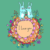 Cute doodle card with bunnies in love Royalty Free Stock Image