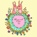 Cute doodle card with bunnies in love Royalty Free Stock Photos