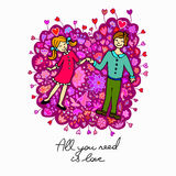 Cute doodle card with couple in love and floral background Stock Photo