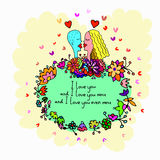 Cute doodle card with couple in love and floral background Royalty Free Stock Image
