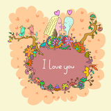 Cute doodle card with couple in love and floral background Stock Photos