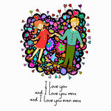 Cute doodle card with couple in love and floral background Royalty Free Stock Photography