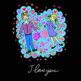 Cute doodle card with couple in love and floral background Stock Photography