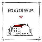 Cute doodle card design with phrase about home and small sketch Stock Photos