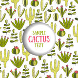 Cute doodle card, invitation cover with cactus Royalty Free Stock Image