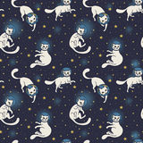 Cute doodle cat-astronauts floating in space. Cosmic seamless pattern, cute doodle cat-astronauts floating in space, vector illustration Stock Photos