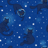 Cute doodle cat-astronauts floating in space Stock Photos