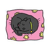 Cute doodle cat sleeps on the pillow Royalty Free Stock Images