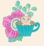 Cute doodle cat in tea cup with flowers. Hand drawn iiilustration Royalty Free Stock Photos