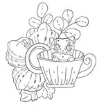 Cute doodle cat in tea cup with flowers. Hand drawn iiilustration Stock Images