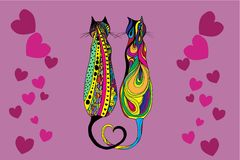 Cute doodle cat. Vector hand drawn kitten with decorative ornament. Royalty Free Stock Image
