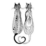 Cute doodle cat. Vector hand drawn kitten with decorative ornament. Stock Images