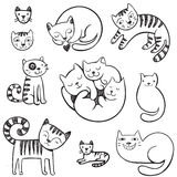 Cute  doodle cats with different emotions. Royalty Free Stock Image