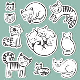 Cute  doodle cats with different emotions. Stock Photos