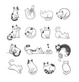 Cute doodle cats. Cute hand-drawn doodle cats with different emotions stock illustration