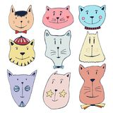 Cute doodle cats icons set. Hand drawn characters for poster, placard, t-shirt design. Stock Photos