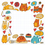 Cute doodle cats, kitty Domestic cats Vector sets with cute kittens for pet shop, cattery, veterinary clinic Doodle Royalty Free Stock Photo