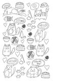 Cute doodle cats, kitty Domestic cats Vector sets with cute kittens for pet shop, cattery, veterinary clinic Doodle Stock Image