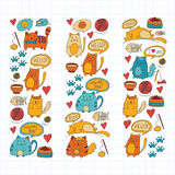 Cute doodle cats, kitty Domestic cats Vector sets with cute kittens for pet shop, cattery, veterinary clinic Doodle Royalty Free Stock Image