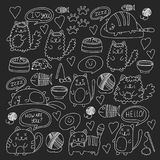 Cute doodle cats, kitty Domestic cats Vector sets with cute kittens for pet shop, cattery, veterinary clinic Doodle Royalty Free Stock Photography