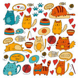 Cute doodle cats, kitty Domestic cats Vector sets with cute kittens for pet shop, cattery, veterinary clinic Doodle Royalty Free Stock Photos